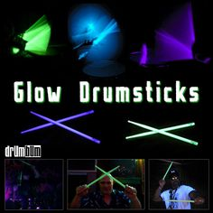 Glow drumsticks can go with bass strings! RESEARCH #DdO:) MOST POPULAR RE-PINS - http://www.pinterest.com/DianaDeeOsborne/drums-drumming-joy/ - DRUMS AND DRUMMING JOY. Add drama to low or black light stage band performances settings! #Glow in the dark properties built in- no need to batteries, no paint that chips of #drum #sticks. $30 pair. Fluorescent dyes make different colors. Green &yellow easy; a good purple really hard. Chemical concentrations are adjusted to brighten glow or prolong…