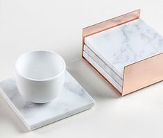 4 Square Carrara Marble Coasters, Copper Nest,marble holder,copper home decor,marble tray,nordic,scandinavian,Melbourne,solid marble by Marbleandmetal on Etsy https://www.etsy.com/listing/251563365/4-square-carrara-marble-coasters-copper
