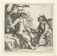 Jacques Callot | Boer en boerin met manden op de rug, Jacques Callot, 1621 - 1624 | Een boer en een boerin, beiden met een rieten mand op de rug, rusten uit aan de kant van een weg. De boer pakt  een fles, de boerin pakt een kom. Deze prent is onderdeel van een serie van 16 prenten (15 volgens Lieure; 17 resp. 16 incl. titelprent) met mannen en vrouwen in diverse houdingen. Mogelijk zijn deze prenten bedoeld geweest als tekenvoorbeelden.