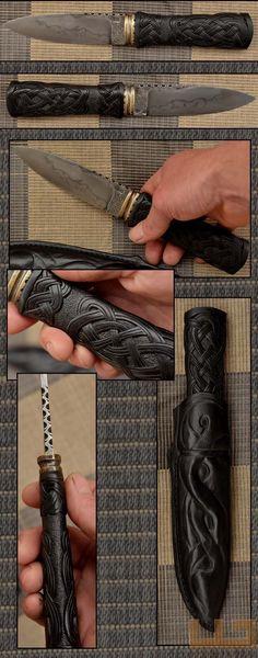 Gerdil Лоран - Скульптура - Человек Стэнли нож. Клинок C105 селективным закалки воды .Manche черное дерево. Всего длина 30 см. Дело в дерево и натуральная кожа.
