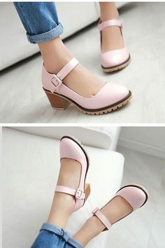 1e5a970774f9e Women s Round Toe Chunky High Heels Mary Jane Shoes