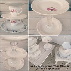 Southern Belle Soul, Mountain Bride Heart: Cupcake and Cake stands for events! (DIY Dessert Stands and shabby chic event decor) Shabby Chic Cupcakes, Shabby Chic Baby Shower, Shower Baby, Baby Showers, Vintage Cake Stands, Dessert Stand, Cupcake Display, Bridal Shower Decorations, Diy Projects To Try