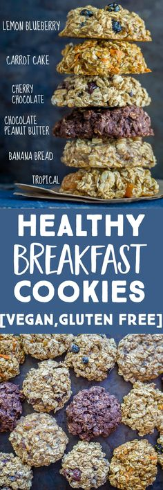 These Healthy Breakfast Cookies are so easy to make and perfect for a grab and go meal prep breakfast or snack!  I share 6 different flavors so you will never get bored!  They're also vegan and gluten free.  #breakfastcookies #breakfast #mealprep #easysnacks Healthy Make Ahead Breakfast, Best Breakfast Recipes, Brunch Recipes, Vegan Recipes, Snack Recipes, Cooking Recipes, Easy Snacks, Healthy Snacks, Breakfast Cookies
