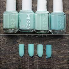 Essie: Mint Candy Apple // Essie: Blossom Dandy // Essie: Fashion Playground // Essie: Where's My Chauffeur?