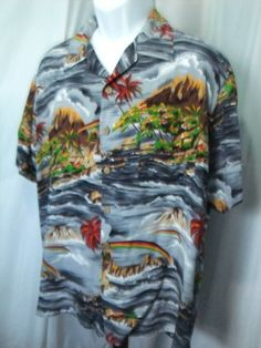 XL mens Hawaiian shirt Roundy Bay rayon rockabilly camp aloha short sleeve #RoundyBay #Hawaiian