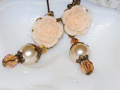 Flower Dangle Earrings  Romantic Jewelry  by judysmithdesigns, $16.00