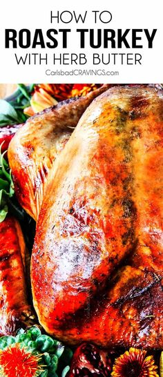 The juiciest, most tender, flavorful Roast Turkey with Herb Butter you ever sunk your teeth into! This is the only turkey recipe you will ever need for the rest of your life for the BEST turkey of you Roast Turkey Recipes, Meat Recipes, Cooking Recipes, Best Thanksgiving Recipes, Best Christmas Recipes, Christmas Videos, Easter Recipes, Herb Roasted Turkey, Recipes