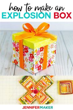 "Make a fun explosion box card to surprise someone special! This is a great way to share memories and even hide cash surprises inside the ""exploding"" box! Exploding Box Template, Exploding Gift Box, Chocolates, Explosion Box Tutorial, Box Cards Tutorial, Svg Tutorial, Pop Up Box Cards, How To Make Box, Diy Box"