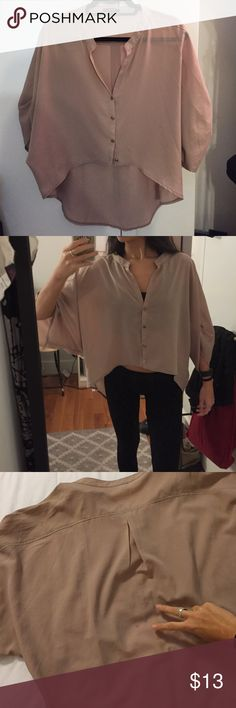 "• Taupe Hi-Lo Blouse • Gold buttons down front & on sleeve • a few small stains, but not noticeable unless you point them out :) • semi-sheer (but it can be worn with tan or nude bra and won't be visible!) • front hits just below the belly button (I'm 5'4"") RolyPoly Tops Blouses"
