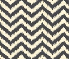 Black and Cream Ikat Chevron fabric by bohemiangypsyjane on Spoonflower - custom fabric