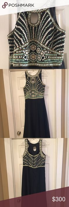 Rachel Allan Curves collection dress Rachel Allan Curves dress. Size 16. Worn once- in perfect, like new condition! Black with turquoise, white, and gold beading detail on top and back. Purchased from 2016 collection. Also comes with nice dress bag. Rachel Allan Dresses Prom
