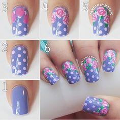 Purple polka-dot and rose nails. Rose Nail Art, Rose Nails, Flower Nail Art, Pedicure Nail Art, Gel Nail Art, Nail Art Diy, Manicure, Nail Art Designs, Nail Polish Designs