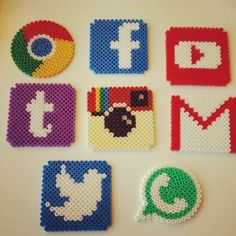 Social network logo coasters hama beads by doetrnietoe Más Melty Bead Patterns, Pearler Bead Patterns, Perler Patterns, Beading Patterns, Embroidery Patterns, Knitting Patterns, Art Patterns, Mosaic Patterns, Loom Patterns