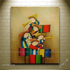oil canvas painting Picture - More Detailed Picture about Oil Painting Of Children Playing Musical Instruments Portrait Canvas Canvas Painting Black Red And White Poster Picture from artbp
