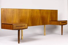 Danish Modern / Mid Century Teak Headboard + Floating nightstand Assembly — Queen Size —Fresco Line - Kofod Larsen for G-Plan