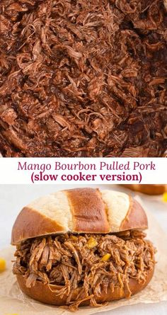 Mango bourbon pulled pork has the perfect combination of sweet and spicy — and the bourbon gives it that WOW factor! Make it in your slow cooker for an easy crowd pleaser. Pulled pork is always great for parties because you can make it way ahead in a slow cooker and guests can serve themselves. It stays nice and hot all evening long. Just set a basket of buns or sliders next to the crockpot and you can chill out with your guests. Not into pork? This sauce is great with chicken, too. Slider Recipes, Pork Recipes, Slow Cooker Recipes, Crockpot Recipes, Pulled Pork Sliders, Pork Shoulder Roast, Bourbon Chicken, Crock Pot Cooking, Pork Dishes