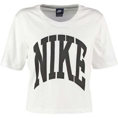 Nike Sportswear Print T-shirt white/black ❤ liked on Polyvore featuring tops, t-shirts, pattern tops, black and white tee, print t shirts, white and black top and nike tops