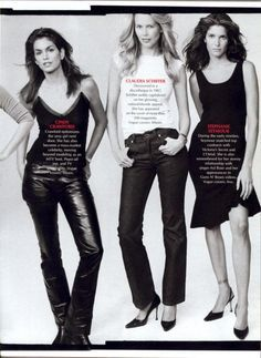 Cindy Crawfordm, Claudia Schiffer, Stephanie Seymour / American Vogue 'The Hubermodels' by Annie Leibovitz Stephanie Seymour, Annie Leibovitz, Claudia Schiffer, Cindy Crawford, Lauren Hutton, 90s Models, Vogue Us, Vogue Covers, Black And White Design