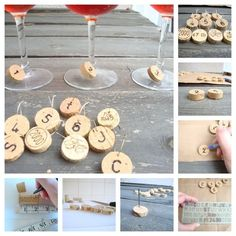 Cut wine corks into little slivers, make a hole with a nail, stencil on letters or numbers, thread a wire hoop through your cork, and you're ready for cocktail hour. This tutorial will come in handy.