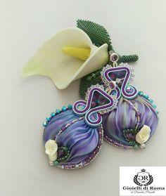Shibori silk, handmade earrings embellished with Swarovski