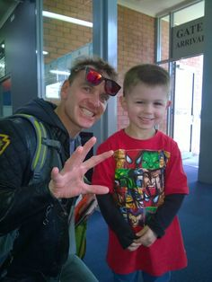 Michael with a little fan at Winyard Airport in Tasmania, 24 November 2014
