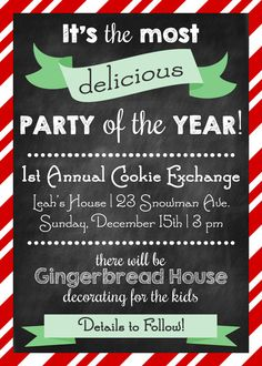 Cookie exchange invitation! Love this idea for Christmas party invites!