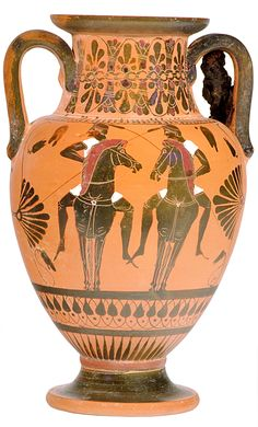 32 / MUV 62 / Neck amphora / Class of Perugia 124 - Sides A and B: Twin riders - Dioscuri? / 535-530 BC   Classics and Archaeology Virtual Museum, The University of Melbourne  http://vm.arts.unimelb.edu.au/tours/Gvases/supp/2726.099.x.jpg