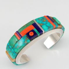 Collectible CHARLES SUPPLEE Hopi Sterling Silver Raised Inlay Cuff Bracelet | G