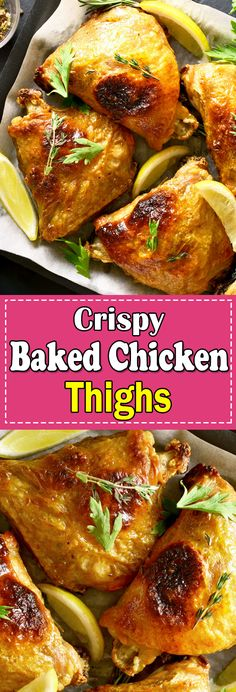 This Baked Chicken Thighs Recipe is a perfect weeknight dinner with tender and juicy chicken melt in your mouth. Baked Chicken Thighs will become your family favourite. #bakedchickenthighs #bakedchicken #bakedchicken #bakedthighs #chickenthighs Chicken Main Course Recipes, Easy Chicken Thigh Recipes, Chicken Lunch Recipes, Chicken Appetizers, Healthy Chicken Dinner, Chicken Breast Recipes Healthy, Dinner Recipes, Yummy Recipes, Dessert Recipes