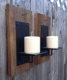 Barn wood candle holder by Thesalvagednail on Etsy
