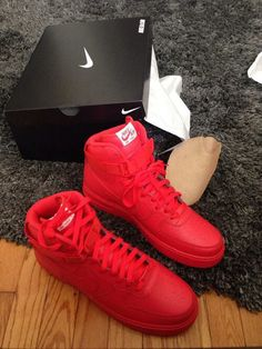 the best attitude 78e60 06560 Red Nike Air Force 1s All Red Nike Shoes, All Red Sneakers, Sneakers Nike