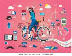 hipster girl with bicycle,info graphic, by filip robert, via Shutterstock
