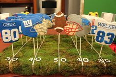 DIY football field holding up the cookies