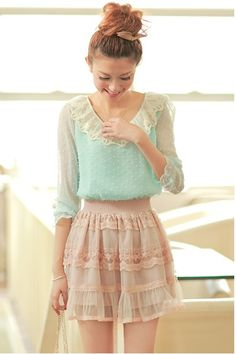 Cute lace chiffon blue and white lace blouse with the pink ruffled detailing skirt. A fitting outfit for a nice day in spring.