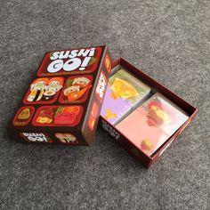 2016 hot sushi go juego de mesa juego de cartas versión inglés completo de alta calidad adecuada para los niños y juego de la familia