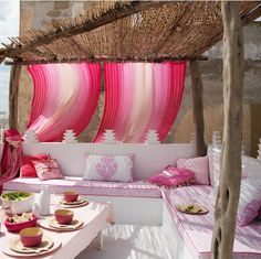 pink patio.  love the textures