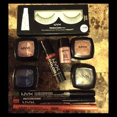 NYX 10 pc Lip and Eye Bundle Reusable eyelashes with glue, four eyeshadows, one loose pigment eyeshadow, tinted lip balm, two lip liners and one eye liner NYX Makeup Eyeshadow