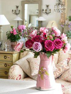 Pink enamel pitcher