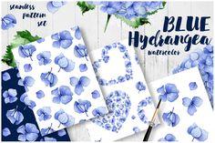 Seamless hydrangea watercolor by Anna Myslivets on @creativemarket