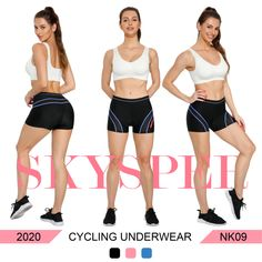 SKYSPER Cycling Underwear Women 3D Gel Padded Cycle Pants Ladies Breathable Comfortable Bicycle Shorts