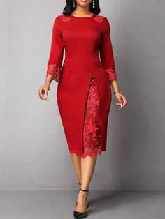 Three-Quarter Sleeve Mid-Calf Lace Round Neck Spring Womens Dress - Look Fashion Modest Dresses, Elegant Dresses, Casual Dresses, Dresses For Work, Sexy Dresses, Sheath Dresses, Trendy Dresses, Long Sleeve Midi Dress, Lace Midi Dress
