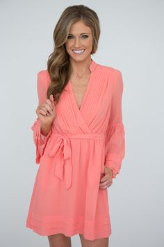 Wedding? Shop our Sunset Drive Faux Wrap Chiffon Dress. Bell sleeves. Lined.