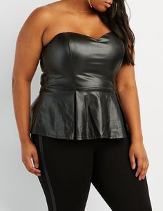 7e74620aebf3 Sexy Plus Size Faux Leather Peplum Bustier Top