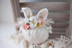 some bunny to love springtime newborn bunny easter woodland ears crown halo floral headband prop
