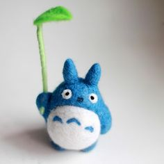 Handmade Needle felted felting animal cute Blue Totoro felted wool dol | Feltify