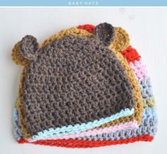 The Yvestown Shop Crochet Pattern for baby hats. 3 sizes.