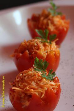 Salata de cruditati Romanian Food, Romanian Recipes, Caribbean Recipes, Stuffed Peppers, Vegetables, Foods, Kitchens, Chef Recipes, Salads
