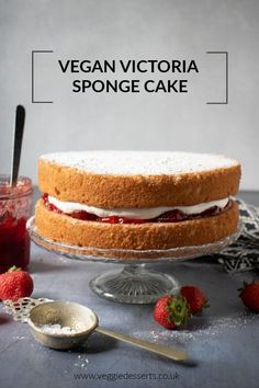 This easy one-bowl vegan Victoria sponge is light, fluffy and absolutely delicious. Strawberry jam and vanilla cream are sandwiched between vanilla sponge cakes. Try this vegan version of the classic British cake recipe. #victoriasponge #victoriasandwich #vegancake #veganvanillacake #veganvictoriasponge via @katehax