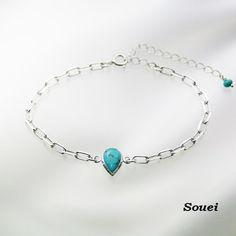 Turquoise ターコイズ ブレスレット (ペアシェイプカット)  【素材】・・・silver925  【石】・・・ターコイズ(ネットトルコ石)約9㎜×6㎜   【サイズ】・・・全長、約21㎝(アジャスター5センチ)16㎝~21㎝と調節できます。