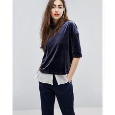 Moss Copenhagen Oversized Velvet T-Shirt ($37) ❤ liked on Polyvore featuring tops, t-shirts, navy, velvet t shirt, velvet tees, drop shoulder tops, navy blue top and velvet top